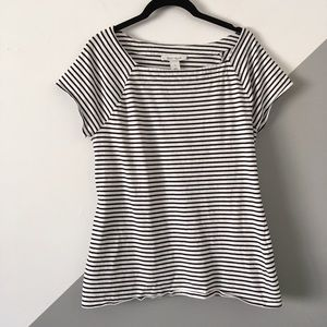 WHBM Large Cap Sleeve Top Cotton Square Neck